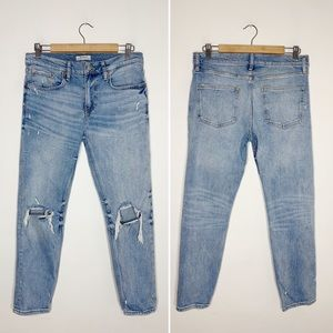 ZARA distressed busted knee jeans